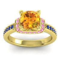 Halo Cushion Aksika Citrine Ring with Pink Tourmaline and Blue Sapphire in 14k Yellow Gold