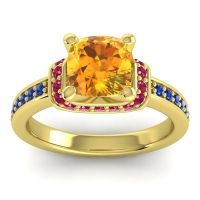Halo Cushion Aksika Citrine Ring with Ruby and Blue Sapphire in 14k Yellow Gold