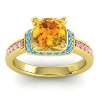 Halo Cushion Aksika Citrine Ring with Swiss Blue Topaz and Pink Tourmaline in 14k Yellow Gold