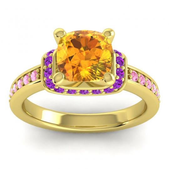 Halo Cushion Aksika Citrine Ring with Amethyst and Pink Tourmaline in 18k Yellow Gold