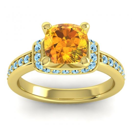 Halo Cushion Aksika Citrine Ring with Aquamarine in 18k Yellow Gold
