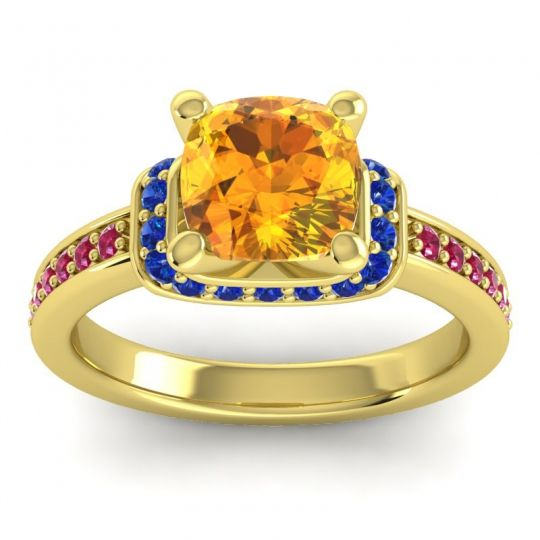Halo Cushion Aksika Citrine Ring with Blue Sapphire and Ruby in 18k Yellow Gold