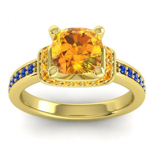 Halo Cushion Aksika Citrine Ring with Blue Sapphire in 18k Yellow Gold