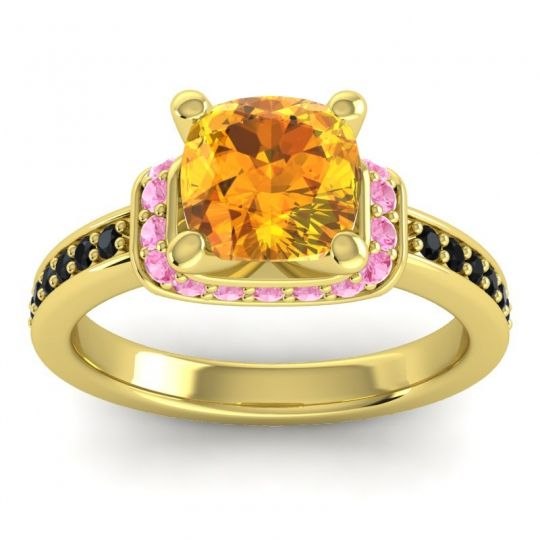 Halo Cushion Aksika Citrine Ring with Pink Tourmaline and Black Onyx in 18k Yellow Gold