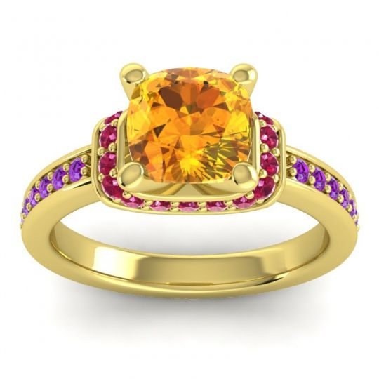 Halo Cushion Aksika Citrine Ring with Ruby and Amethyst in 14k Yellow Gold