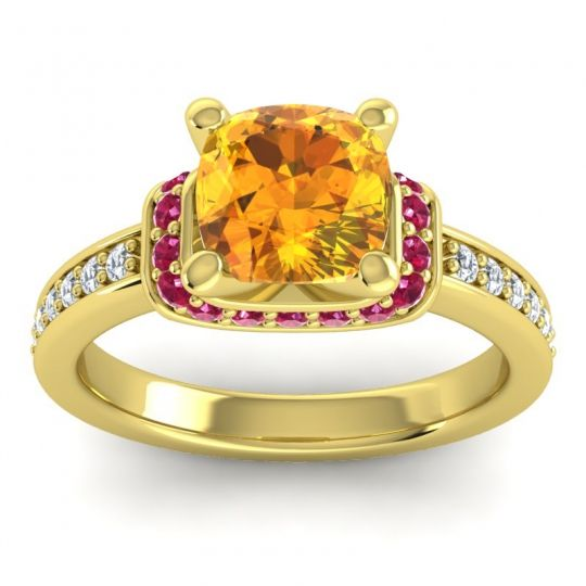 Halo Cushion Aksika Citrine Ring with Ruby and Diamond in 18k Yellow Gold