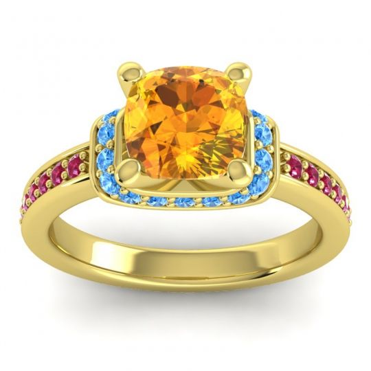 Halo Cushion Aksika Citrine Ring with Swiss Blue Topaz and Ruby in 18k Yellow Gold
