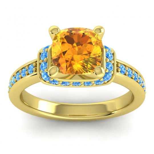 Halo Cushion Aksika Citrine Ring with Swiss Blue Topaz in 14k Yellow Gold