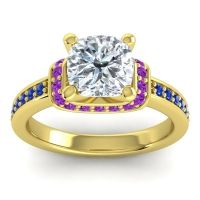 Halo Cushion Aksika Diamond Ring with Amethyst and Blue Sapphire in 18k Yellow Gold