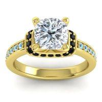 Halo Cushion Aksika Diamond Ring with Black Onyx and Aquamarine in 14k Yellow Gold