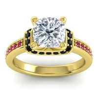 Halo Cushion Aksika Diamond Ring with Black Onyx and Ruby in 18k Yellow Gold