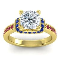 Halo Cushion Aksika Diamond Ring with Blue Sapphire and Ruby in 14k Yellow Gold