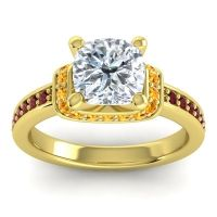 Halo Cushion Aksika Diamond Ring with Citrine and Garnet in 18k Yellow Gold