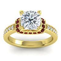 Halo Cushion Aksika Diamond Ring with Garnet in 14k Yellow Gold