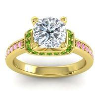 Halo Cushion Aksika Diamond Ring with Peridot and Pink Tourmaline in 14k Yellow Gold
