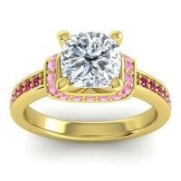 Halo Cushion Aksika Diamond Ring with Pink Tourmaline and Ruby in 18k Yellow Gold