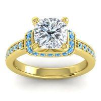 Halo Cushion Aksika Diamond Ring with Swiss Blue Topaz and Aquamarine in 14k Yellow Gold