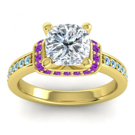Halo Cushion Aksika Diamond Ring with Amethyst and Aquamarine in 14k Yellow Gold
