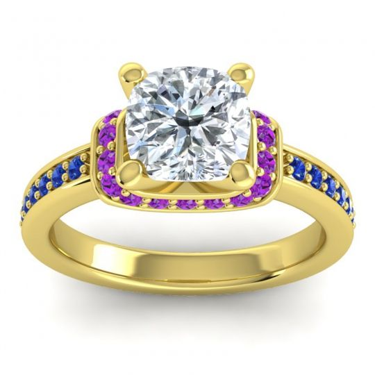 Halo Cushion Aksika Diamond Ring with Amethyst and Blue Sapphire in 14k Yellow Gold