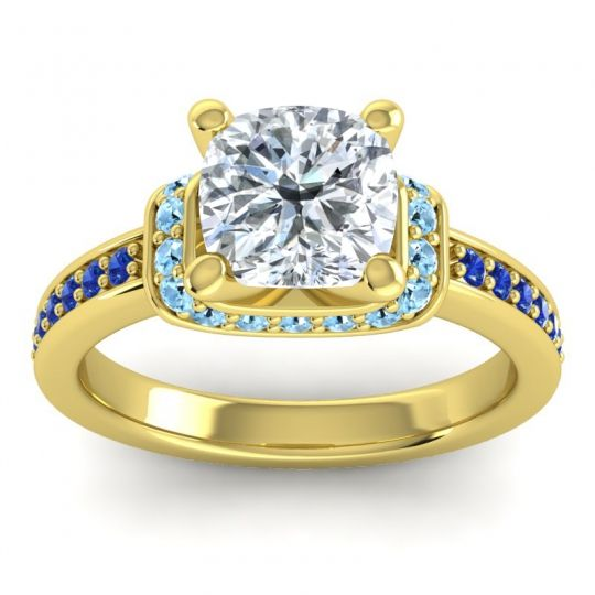 Halo Cushion Aksika Diamond Ring with Aquamarine and Blue Sapphire in 18k Yellow Gold