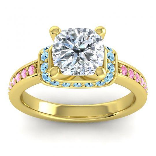 Halo Cushion Aksika Diamond Ring with Aquamarine and Pink Tourmaline in 14k Yellow Gold