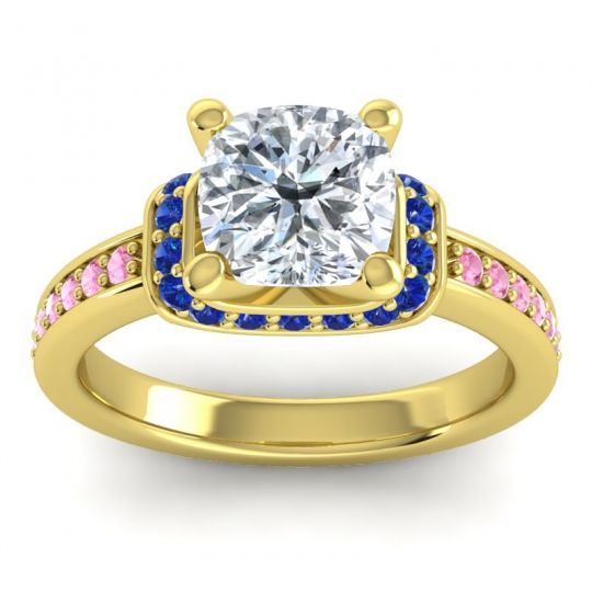 Halo Cushion Aksika Diamond Ring with Blue Sapphire and Pink Tourmaline in 18k Yellow Gold