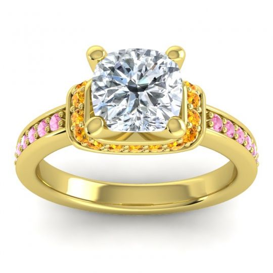 Halo Cushion Aksika Diamond Ring with Citrine and Pink Tourmaline in 18k Yellow Gold