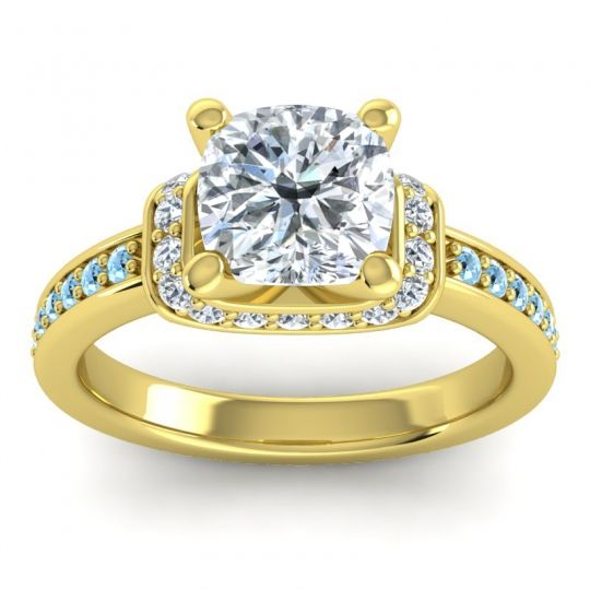 Halo Cushion Aksika Diamond Ring with Aquamarine in 14k Yellow Gold