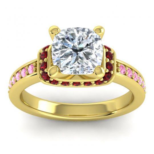 Halo Cushion Aksika Diamond Ring with Garnet and Pink Tourmaline in 14k Yellow Gold