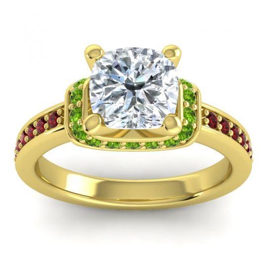 Halo Cushion Aksika Diamond Ring with Peridot and Garnet in 14k Yellow Gold