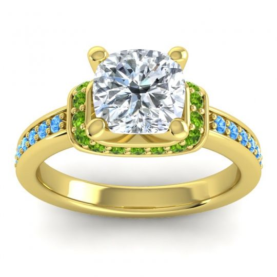 Halo Cushion Aksika Diamond Ring with Peridot and Swiss Blue Topaz in 18k Yellow Gold