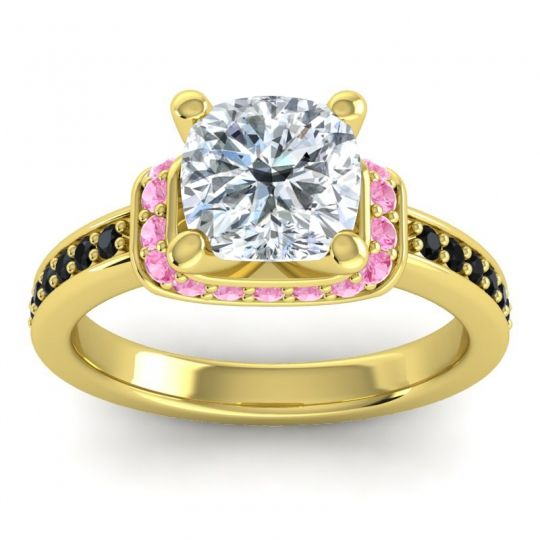 Halo Cushion Aksika Diamond Ring with Pink Tourmaline and Black Onyx in 18k Yellow Gold