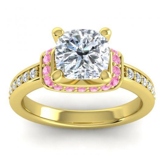 Halo Cushion Aksika Diamond Ring with Pink Tourmaline in 14k Yellow Gold