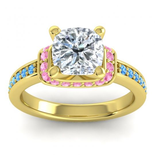Halo Cushion Aksika Diamond Ring with Pink Tourmaline and Swiss Blue Topaz in 14k Yellow Gold