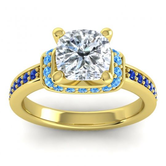 Halo Cushion Aksika Diamond Ring with Swiss Blue Topaz and Blue Sapphire in 14k Yellow Gold