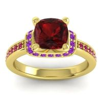 Halo Cushion Aksika Garnet Ring with Amethyst and Ruby in 18k Yellow Gold