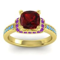 Halo Cushion Aksika Garnet Ring with Amethyst and Swiss Blue Topaz in 14k Yellow Gold