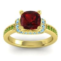 Halo Cushion Aksika Garnet Ring with Aquamarine and Peridot in 18k Yellow Gold