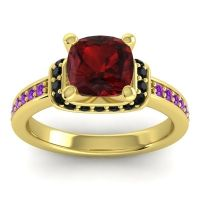 Halo Cushion Aksika Garnet Ring with Black Onyx and Amethyst in 14k Yellow Gold