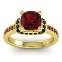 Halo Cushion Aksika Garnet Ring with Black Onyx in 14k Yellow Gold