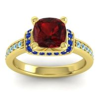 Halo Cushion Aksika Garnet Ring with Blue Sapphire and Aquamarine in 18k Yellow Gold