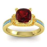 Halo Cushion Aksika Garnet Ring with Citrine and Swiss Blue Topaz in 14k Yellow Gold