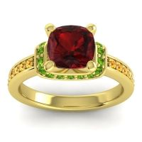 Halo Cushion Aksika Garnet Ring with Peridot and Citrine in 14k Yellow Gold