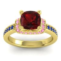 Halo Cushion Aksika Garnet Ring with Pink Tourmaline and Blue Sapphire in 14k Yellow Gold