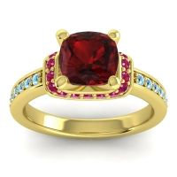Halo Cushion Aksika Garnet Ring with Ruby and Aquamarine in 18k Yellow Gold