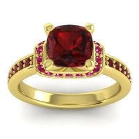 Halo Cushion Aksika Garnet Ring with Ruby in 14k Yellow Gold