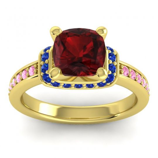 Halo Cushion Aksika Garnet Ring with Blue Sapphire and Pink Tourmaline in 14k Yellow Gold