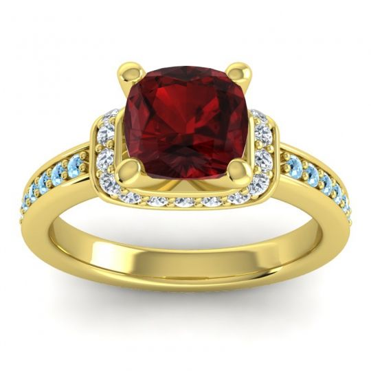 Halo Cushion Aksika Garnet Ring with Diamond and Aquamarine in 18k Yellow Gold