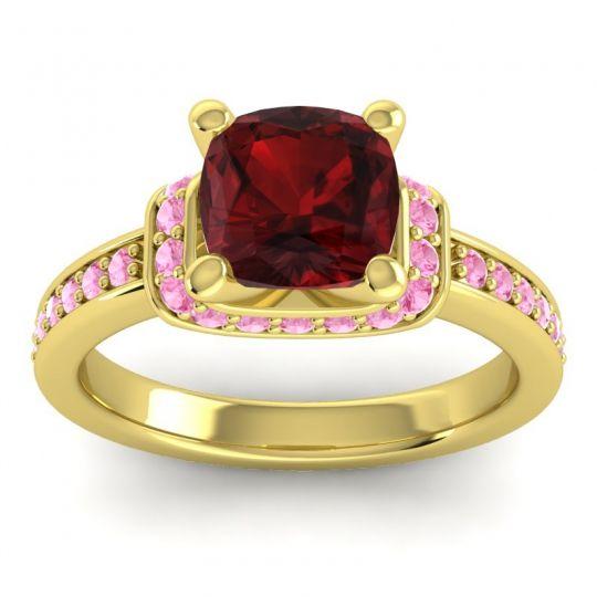 Halo Cushion Aksika Garnet Ring with Pink Tourmaline in 14k Yellow Gold