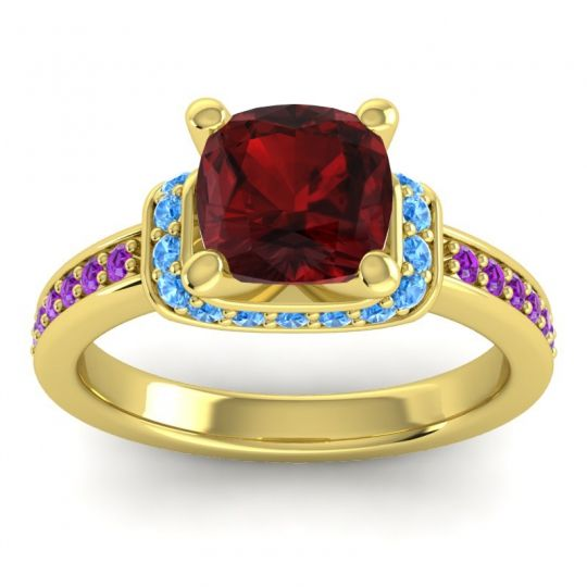 Halo Cushion Aksika Garnet Ring with Swiss Blue Topaz and Amethyst in 18k Yellow Gold